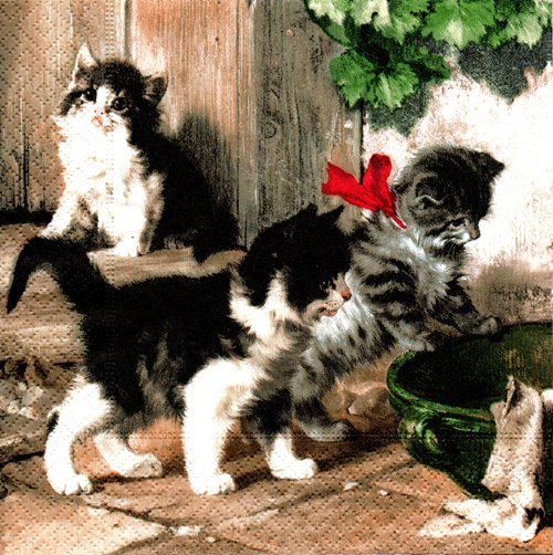 แนวภาพสัตว์ ลูกแมวน้อยลายขาวดำ ภาพโทนสีน้ำลงสี เป็นภาพ 4 บล๊อค กระดาษแนพกิ้นสำหรับทำงาน เดคูพาจ Decoupage Paper Napkins ขนาด 33X33cm