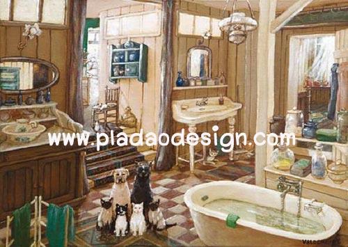 กระดาษสาพิมพ์ลาย สำหรับทำงาน เดคูพาจ Decoupage แนวภาพ หมาๆแมวๆ รวมกลุ่มเตรียมตัวอาบน้ำในอ่าง ในห้องน้ำไม่มีประตู