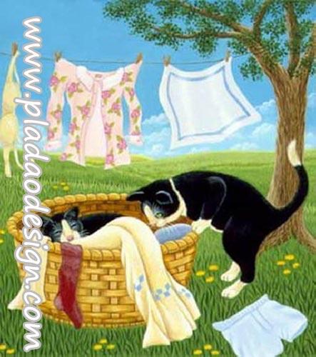กระดาษสาพิมพ์ลาย สำหรับทำงาน เดคูพาจ Decoupage แนวภาพ 2 แมวดำแอบมานอนในตระกร้าเก็บผ้า