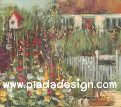 กระดาษสาพิมพ์ลาย สำหรับทำงาน เดคูพาจ Decoupage แนวภาำพ บ้านและสวน ลายพุ่มดอกไม้หลากสีสันหน้ารั้วไม้ของบ้านสวย เป็นภาพวาดสีฟุ้งๆ (ปลาดาวดีไซน์)