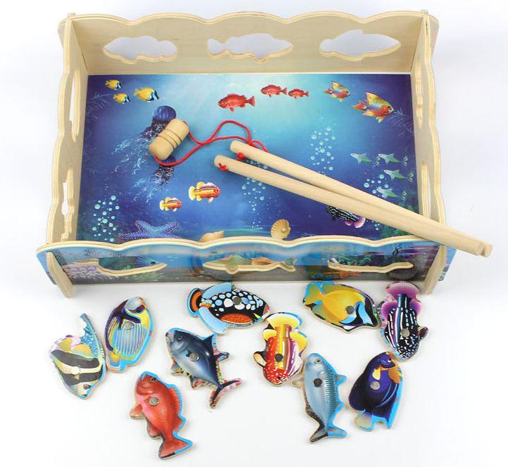 ของเล่นไม้ชุดบ่อตกปลาแม่เหล็ก