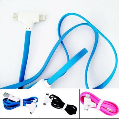 สายชาร์จมือถือ หัวค้อนสายแบน USB 2หัว ชาร์จได้ทั้ง Andriod & IOS ยาว 1 เมตร