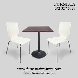 ชุดโต๊ะอาหารขาแชมเปญพร้อมเก้าอี้ดีไซน์สีขาว 2 ที่นั่ง