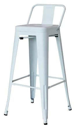 เก้าอี้บาร์เหล็ก มีพนัก สีขาว ดีไซน์สวย สำหรับร้านอาหาร ร้านกาแฟ