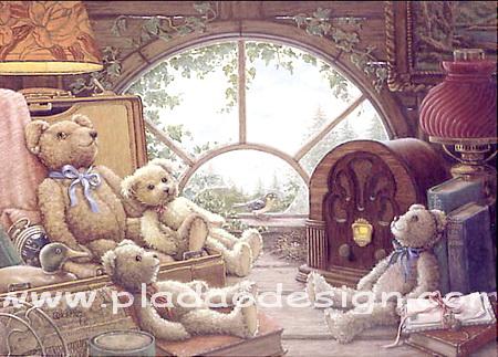 กระดาษสาพิมพ์ลาย rice paper เป็น กระดาษสา สำหรับทำงาน เดคูพาจ Decoupage แนวภาพ น้องหมี เท็ดดี้ แบร์ teddy bear นั่งชมวิวในบ้าน ผ่านกระจกทรงโค้ง (pladao design)