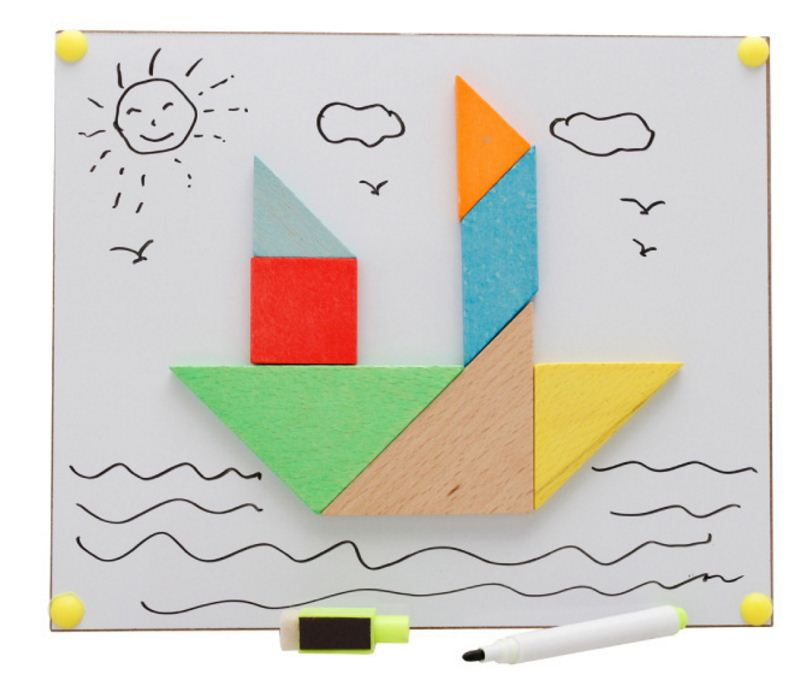 ของเล่นไม้เสริมพัฒนาการ แทนแกรม (Tangram) เป็นแผ่นตัวต่อปริศนา