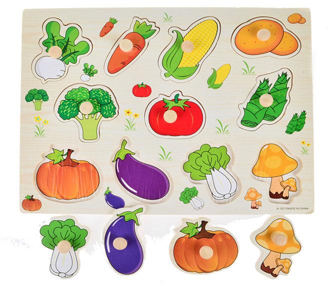 ของเล่นเด็ก ของเล่นไม้ จิ๊กซอว์ไม้ภาพผัก