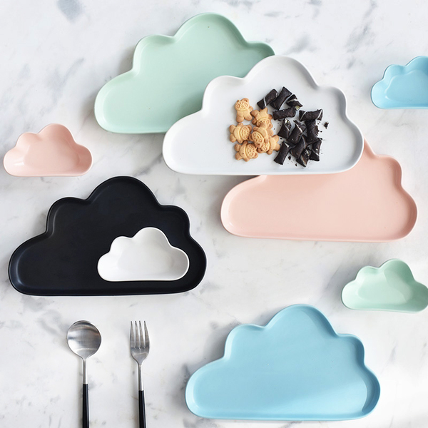 Pre-Order จาน ถ้วยเซรามิคลายเมฆ พร้อมเม็ดฝน มี 5 สี
