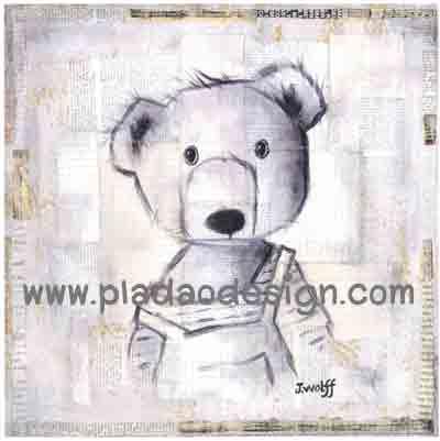 กระดาษสาพิมพ์ลาย rice paper เป็น กระดาษสา สำหรับทำงานฝีมือ เดคูพาจ Decoupage แนวภาพ ภาพวาดลายเส้นดินสอน้องหมี เท็ดดี้ แบร์ Teddy Bear ชุดเอี๊ยม (ปลาดาวดีไซน์)