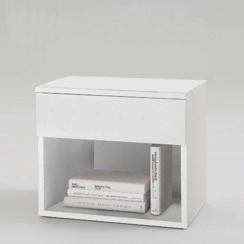 โต๊ะข้างเตียงไม้จริง+ชั้นวางของ สีขาว (สั่งทำสำหรับงานโปรเจค)