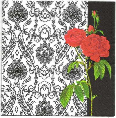 แนวภาพดอกไม้ เป็นช่อดอกกุหลาบบนพื้นหลัง เป็นภาพครึ่งแผ่น กระดาษแนพกิ้นสำหรับทำงาน เดคูพาจ Decoupage Paper Napkins ขนาด 33X33cm