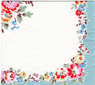 แนวภาพลายแต่ง เส้นขอบดอกไม้พื้นขาว ในกรอบสีฟ้าเทา เป็นภาพเต็มแผ่น กระดาษแนพกิ้นสำหรับทำงาน เดคูพาจ Decoupage Paper Napkins ขนาด 33X33cm