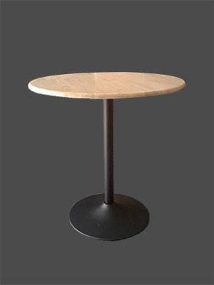 โต๊ะกลมไม้จริง สีธรรมชาติ ขาแชมเปญสีดำ สำหรับแต่งร้านกาแฟ ร้านอาหาร