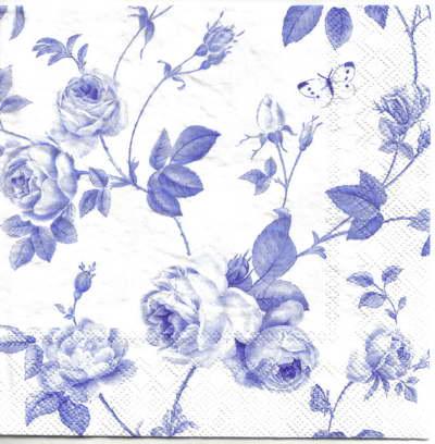 แนวภาพดอกไม้ เป็นช่อดอกกุหลาบสีฟ้า บนพื้นขาว เป็นภาพเต็มแผ่น กระดาษแนพกิ้นสำหรับทำงาน เดคูพาจ Decoupage Paper Napkins ขนาด 33X33cm