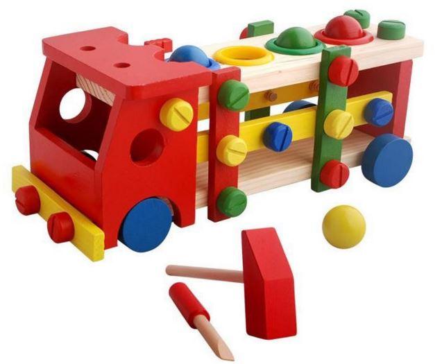 ของเล่นเสริมพัฒนาการ รถไม้วิศวะ ถอดประกอบ แบบทุบบอล 4สี