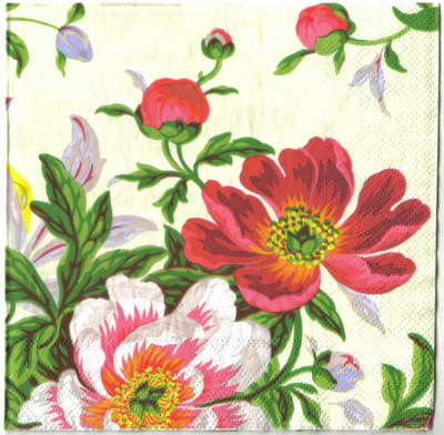 แนวภาพดอกไม้ ช่อดอกไม้แนวภาพวาดโทนสีชมพู ภาพแนวตั้ง กระดาษแนพกิ้นสำหรับทำงาน เดคูพาจ Decoupage Paper Napkins ขนาด 33X33cm