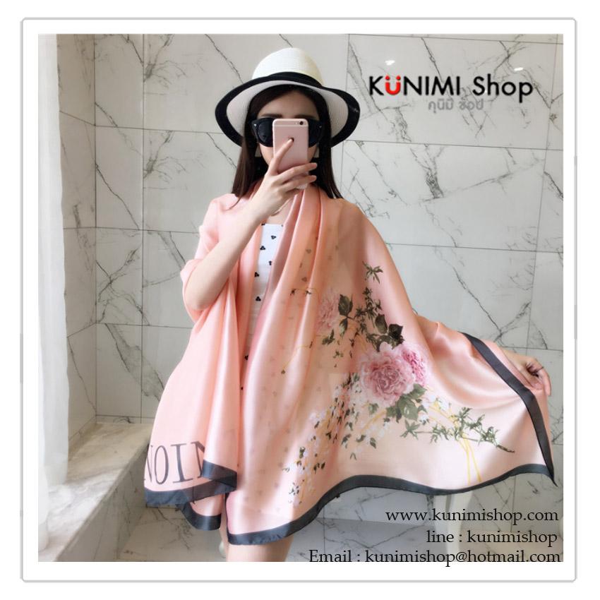 PR028 ผ้าพันคอแฟชั่น ผ้าไหม พิมพ์ลายสวย น่ารัก งานสวยคะ ขนาด กว้าง 90 ยาว 185 cm.