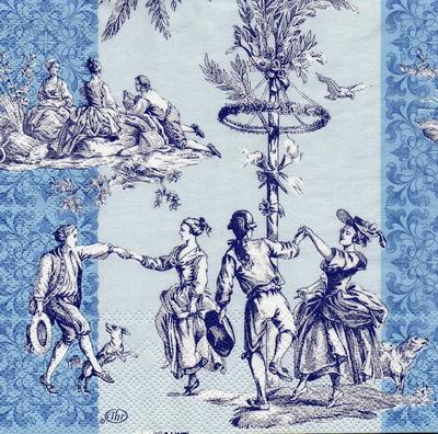 แนวภาพศิลปะ หนุ่มสาวเต้นรำ พร้อมลายแต่ง ภาพโทนสีฟ้าน้ำเงิน เป็นภาพ 4 บล๊อค กระดาษแนพกิ้นสำหรับทำงาน เดคูพาจ Decoupage Paper Napkins ขนาด 33X33cm