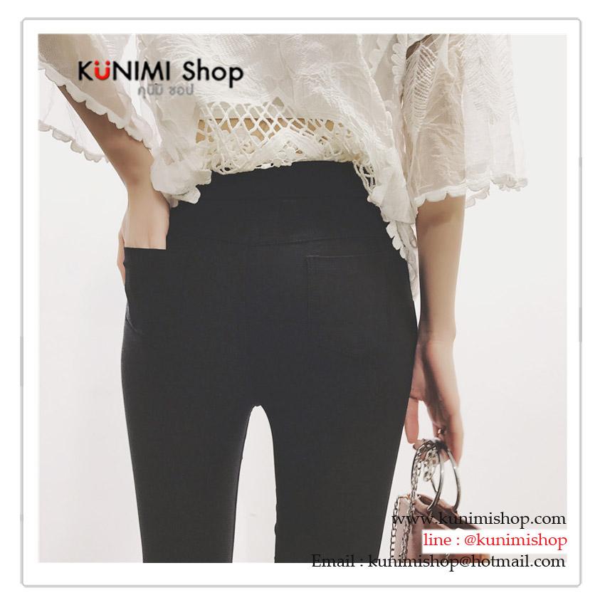 กางเกงขากระดิ่งห้าส่วน สีดำ ปลายขาแต่งผ้าลูกไม้สวยหวาน เอวยางยืด ตามขนาด ทรงสวยคะ