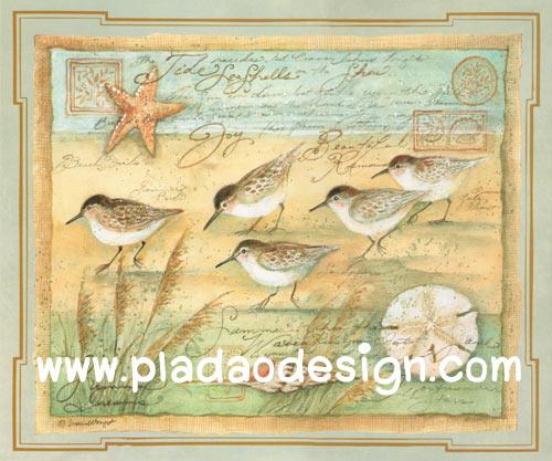 กระดาษสาพิมพ์ลาย สำหรับทำงาน เดคูพาจ Decoupage แนวภาำพ ภาพวาดสีหวาน นก 5 ตัว เดินเล่นกันอยู่ทีชายหาด พื้นสีเขียวซอฟท์ๆ ภาพในกรอบแบบหลุยส์ (ปลาดาวดีไซน์)