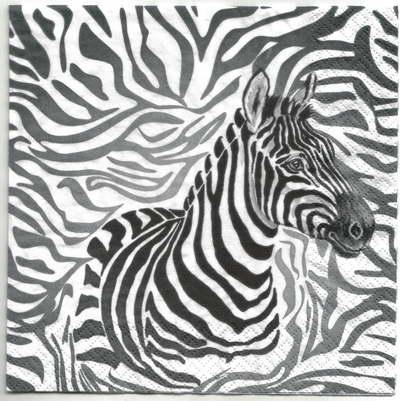 แนวภาพซาฟารี ม้าลายในพื้นลายหนังม้าลาย เป็นภาพ 4 บล๊อค กระดาษแนพกิ้นสำหรับทำงาน เดคูพาจ Decoupage Paper Napkins ขนาด 33X33cm