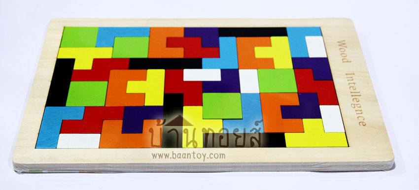 ของเล่นบล็อกไม้ปริศนา เกมไม้เททริส [Tetris] ฝึกการคิดแก้ปัญหาเฉพาะหน้า การเรียนรู้เรื่องสี รูปทรงต่างๆ ตัวเกมส์ใช้สีสันสวยงาม ทำให้น้องเพลิดเพลินขณะเล่น แล้วยังช่วยฝึกกล้ามเนื้อมือมัดเล็กเเละความสัมพันธ์ระหว่างประสาทมือเเละตา