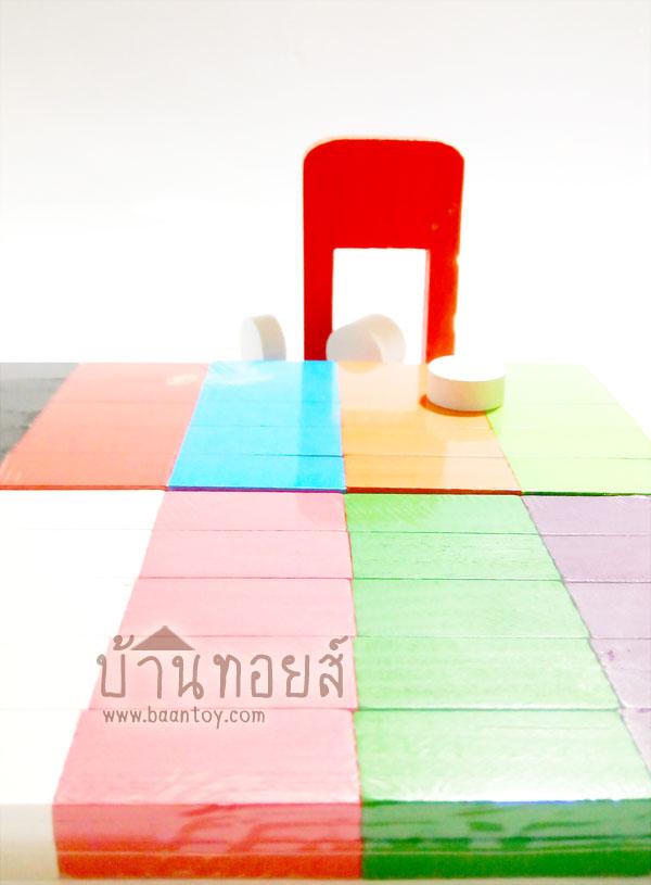 โดมิโน่ไม้ โดมิโน่สี บล็อคไม้โดมิโน่ บล็อคไม้เสริมพัฒนาการ เป็นบล็อคไม้ 100 ชิ้น สีสันสวยงามสำหรับเล่นต่อเรียงโดมิโน่