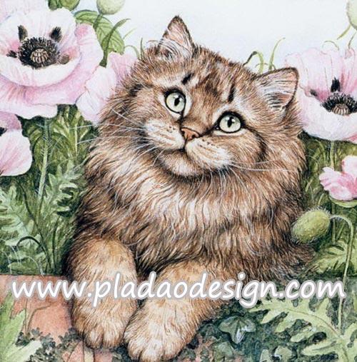 กระดาษสาพิมพ์ลาย สำหรับทำงาน เดคูพาจ Decoupage แนวภาำพ ลูกแมวตัวน้อยขนฟู ตาแป๋ว นอนใกล้ๆดอกบัว