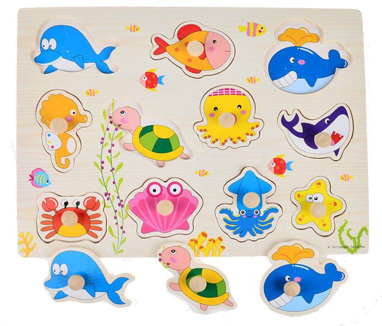 จิ๊กซอว์ไม้จุกดึงภาพสัตว์ทะเล