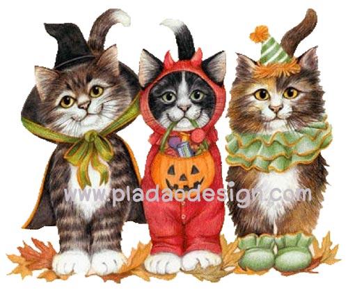 กระดาษสาพิมพ์ลาย สำหรับทำงานฝืมือ เดคูพาจ Decoupage กระดาษสา แนวภาพ น้องแมวแต่งแฟนซีถือฟักทองมาร่วมงาน Halloween ปลาดาวดีไซน์