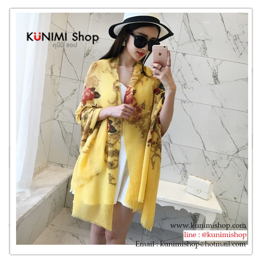 PR146 ผ้าพันคอแฟชั่น ผ้าฝ้าย พิมพ์ลายสวย สีเหลือง ขนาด ยาว 190 กว้าง 90 cm.
