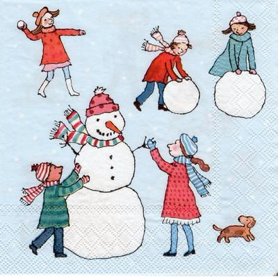 แนวภาพเทศกาล คริสมาสต์กับเด็กน้อย มาเล่นปั้นตุ๊กตาหิมา บนพื้นฟ้า เป็นภาพแนวยาว กระดาษแนพกิ้นสำหรับทำงาน เดคูพาจ Decoupage Paper Napkins ขนาด 33X33cm