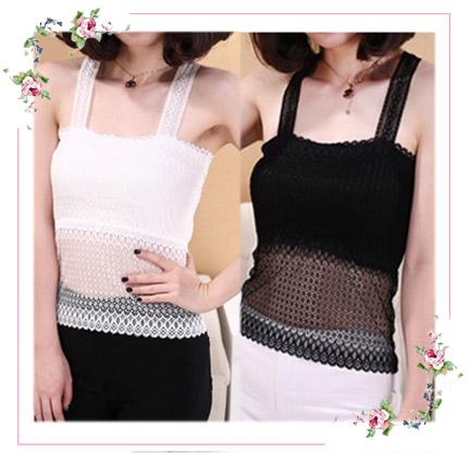 WG111 เสื้อกล้ามเต็มตัว เสื้อซับใน ผ้าลูกไม้ มีความยืดหยุ่นเล็กน้อย ด้านหลังเป็นลายผีเสื้อ มี 2 สี ขาว ดำ รอบอกไม่เกิน 36 นิ้ว
