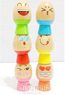 ของเล่นเสริมพัฒนาการ ไข่ไม้เรียงซ้อนบอกอารมณ์