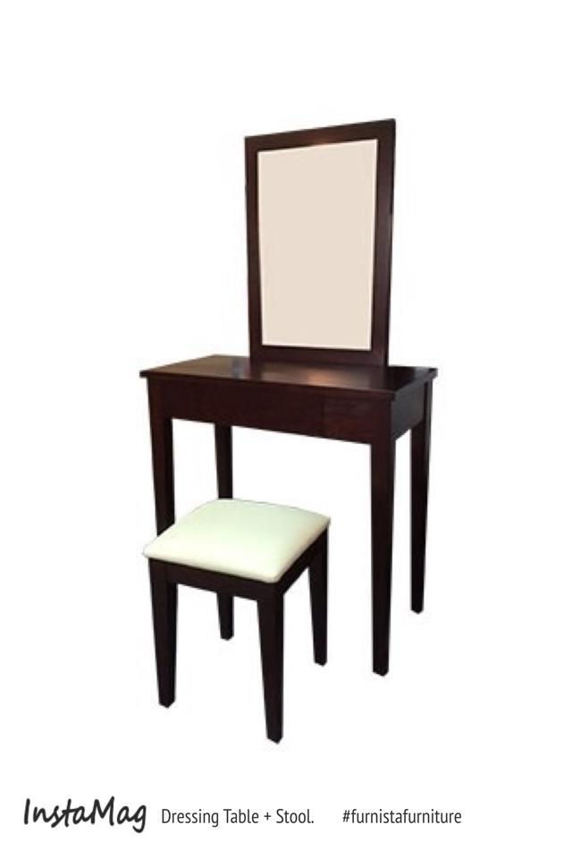 โต๊ะเครื่องแป้งไม้จริงพร้อมสตูลเบาะนุ่มนั่งสบาย รับประกันคุณภาพ