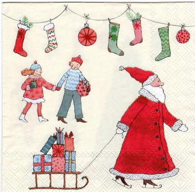 แนวภาพเทศกาล คริสมาสต์กับแซนต้าครอส มาพร้อมของขวัญกับเด็กน้อย บนพื้นครีม เป็นภาพแนวยาว กระดาษแนพกิ้นสำหรับทำงาน เดคูพาจ Decoupage Paper Napkins ขนาด 33X33cm