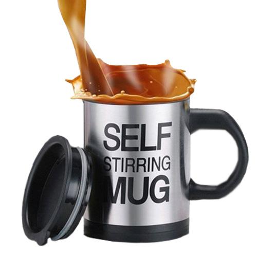 Self Stirring Mug ถ้วยชงกาแฟออโต้ 400ml สีเงิน ผลิตจากสแตนเลสและพลาสติกทนต่อความร้อน