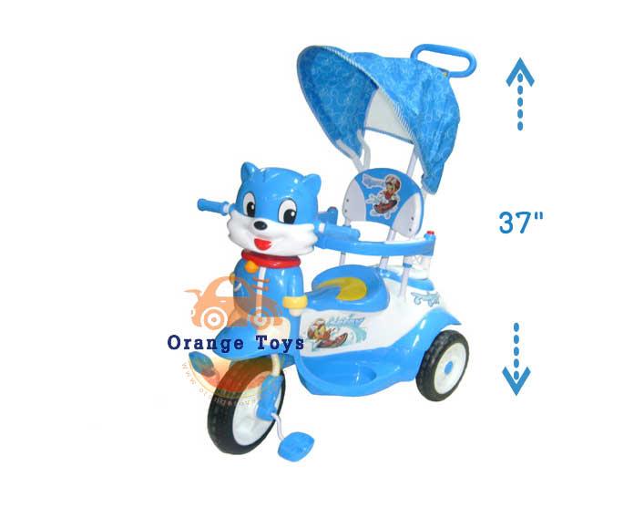 รถเข็นเด็ก + รถสามล้อถีบหน้าแมว มีเสียงเพลง เข็นบังคับทิศทางได้ ***(แบบหุ้มโครง)** คละสี