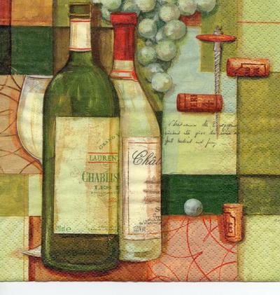 แนวภาพอาหาร ลายเส้นลงสีขวดไวน์กับผลองุ่น เป็นภาพ 4 บล๊อค กระดาษแนพกิ้นสำหรับทำงาน เดคูพาจ Decoupage Paper Napkins ขนาด 33X33cm