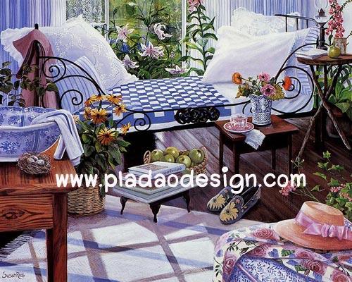 กระดาษอาร์ตพิมพ์ลาย art paper สำหรับทำงาน handmadeเดคูพาจ Decoupage แนวภาพ บ้านและสวน ห้องนอนสวยๆ ปูพื้นด้วยไม้กระดาน แต่งด้วยต้นไม้ ดูอบอุ่น เก๋เก๋ (ปลาดาวดีไซน์) สำเนา
