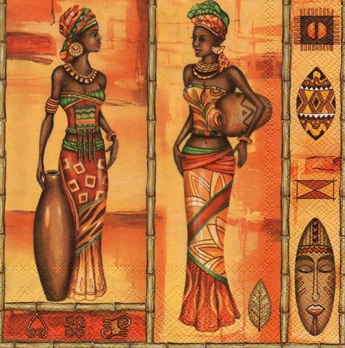 แนวภาพแอฟริกัน หญิงแอฟริกา กระดาษแนพกิ้นสำหรับทำงาน เดคูพาจ Decoupage Paper Napkins เป็นภาพแนวยาว ขนาด 33X33cm