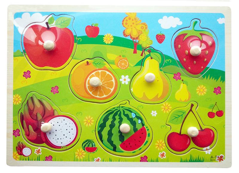 ของเล่นไม้ จิ๊กซอว์หมุดดึงภาพผลไม้