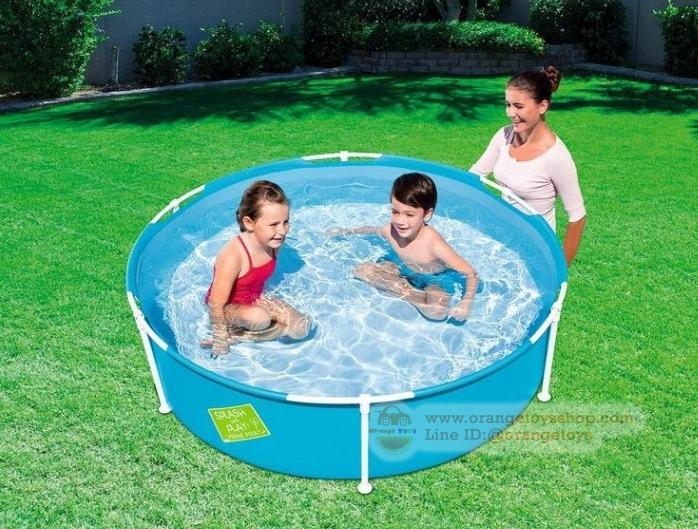 ( ขนาด 5 ฟุต )สระว่ายน้ำ วงกลมขอบตั้ง มีโครง SPLASH & PLAY ขนาด 1.5 เมตร สีฟ้า