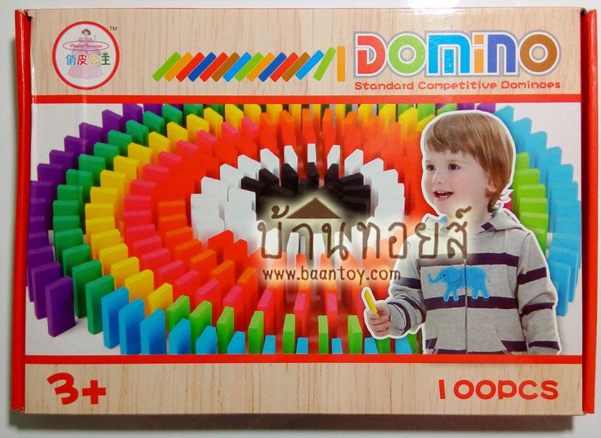 โดมิโน่ โดมิโน่สี100 ชิ้น โดมิโน่ไม้เสริมพัฒนาการ