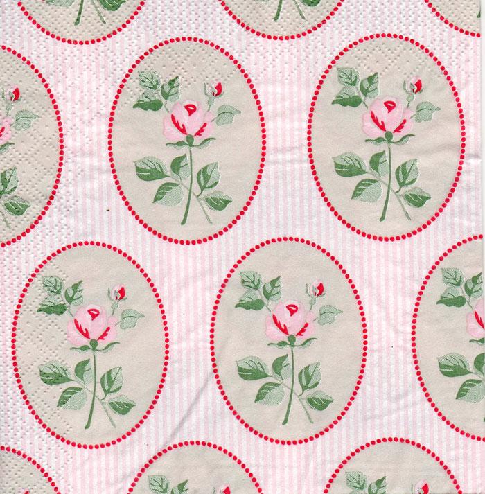 แนวภาพ ลายดอกไม้ ในกรอบล้อมรูปไข่สีเขียวหวาน บนพื้นลายทางชมพู เป็นภาพกระจายเต็มแผ่น กระดาษแนพกิ้นสำหรับทำงาน เดคูพาจ Decoupage Paper Napkins ขนาด 33X33cm