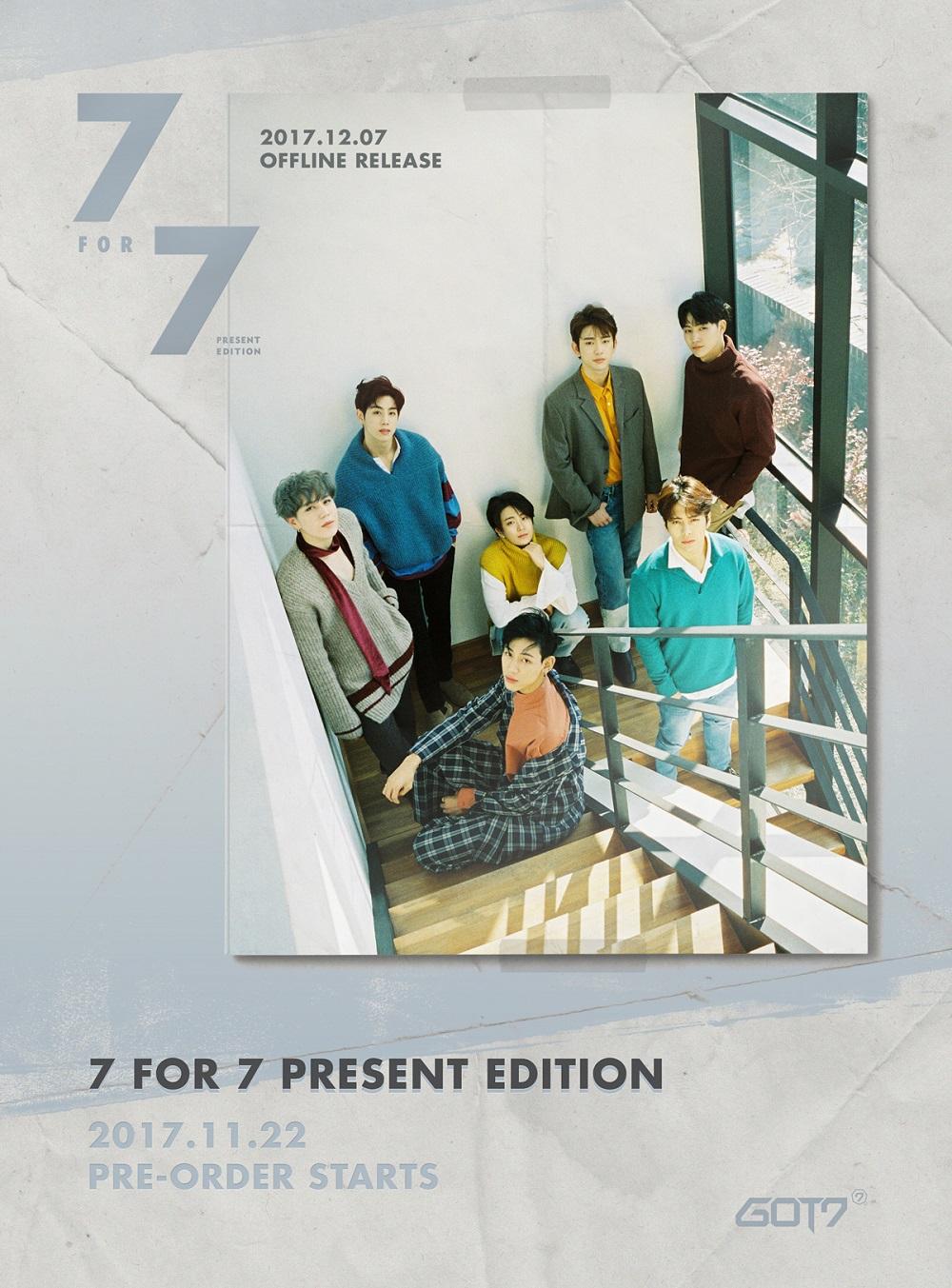 [Pre] GOT7 : Album - 7 for 7 PRESENT EDITION (Random Ver.) +Poster