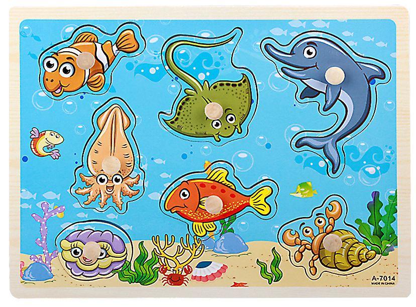 ของเล่นไม้ จิ๊กซอว์ไม้หมุดดึงภาพสัตว์ทะเล