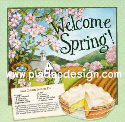 กระดาษสาพิมพ์ลาย สำหรับทำงาน เดคูพาจ Decoupage แนวภาำพ Welcome Spring ฉากหลังเป็นบ้านในฤดูใบไม้ผลิ กับสูตรทำขนม Lemon pie สีหวานๆ (ปลาดาวดีไซน์)