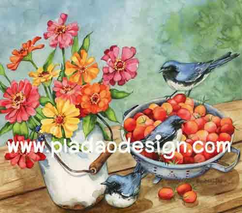 กระดาษอาร์ตพิมพ์ลาย สำหรับทำงาน เดคูพาจ Decoupage แนวภาำพ นกน้อยสีเทา 3 ตัว นั่งคุยกันอยู่ในชามใส่เชอรี่สีส้ม ข้างถ้งดอกไม้หลายสี เป็นภาพวาดสีสวยมาก (ปลาดาวดีไซน์)