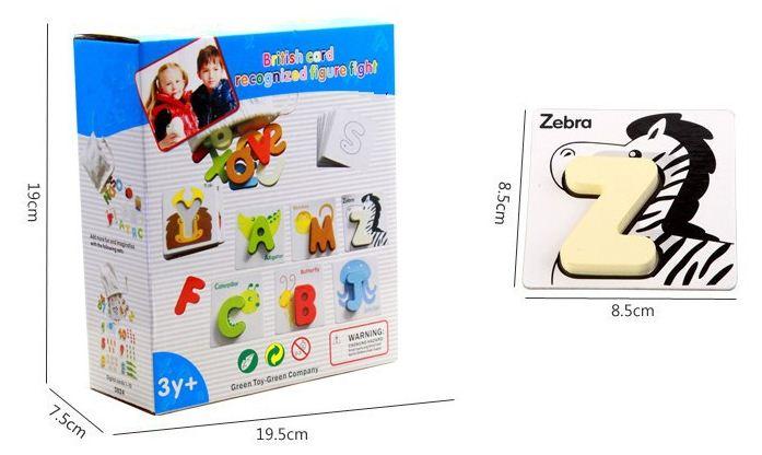 เเฟลชการ์ด/จิ๊กซอร์ไม้สามมิติ A-Z พร้อมถุงผ้า บัตรภาพกระดาษแข็งพิมพ์ลาย สีสันสดใส น่ารัก เล่นได้ทั้ง 2 ด้าน